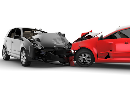 two cars in a head on car accident collision