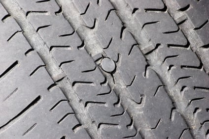 Tire Blowout Caused By A Nail