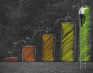 bar graph on blackboard