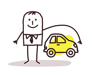 A cartoon businessman representing car insurance with an arm over a cartoon car to signify protection.