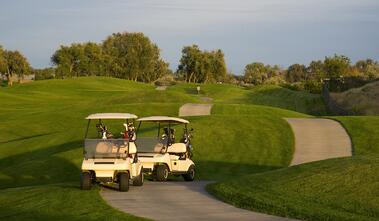 a pair of golf carts on the golf course